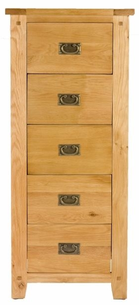 Perth Oak Chest of Drawer - Tall 5 Drawer
