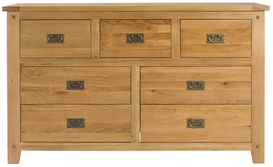 Perth Oak Chest of Drawer - Wide 7 Drawer