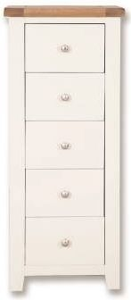 Perth 5 Drawer Tall Chest - Oak and White Painted