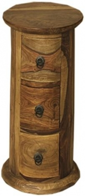 Thacket Sheesham 3 Drawer Round Chest