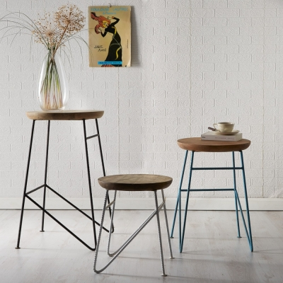 Indian Hub Aspen Iron and Wood Round Stools (Set of 3)