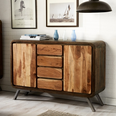 Indian Hub Aspen Iron and Wooden Greeno Sideboard
