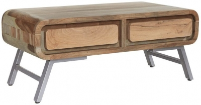 Indian Hub Aspen Wood and Metal Storage Coffee Table