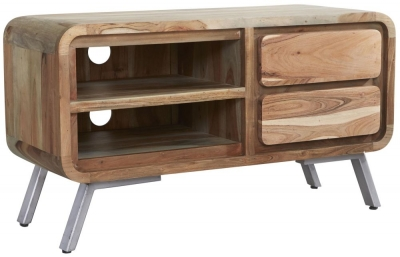 Indian Hub Aspen Wood and Metal TV Cabinet