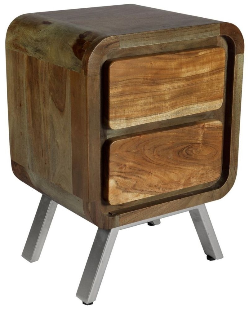 Indian Hub Aspen Greeno 2 Drawer Lamp Table
