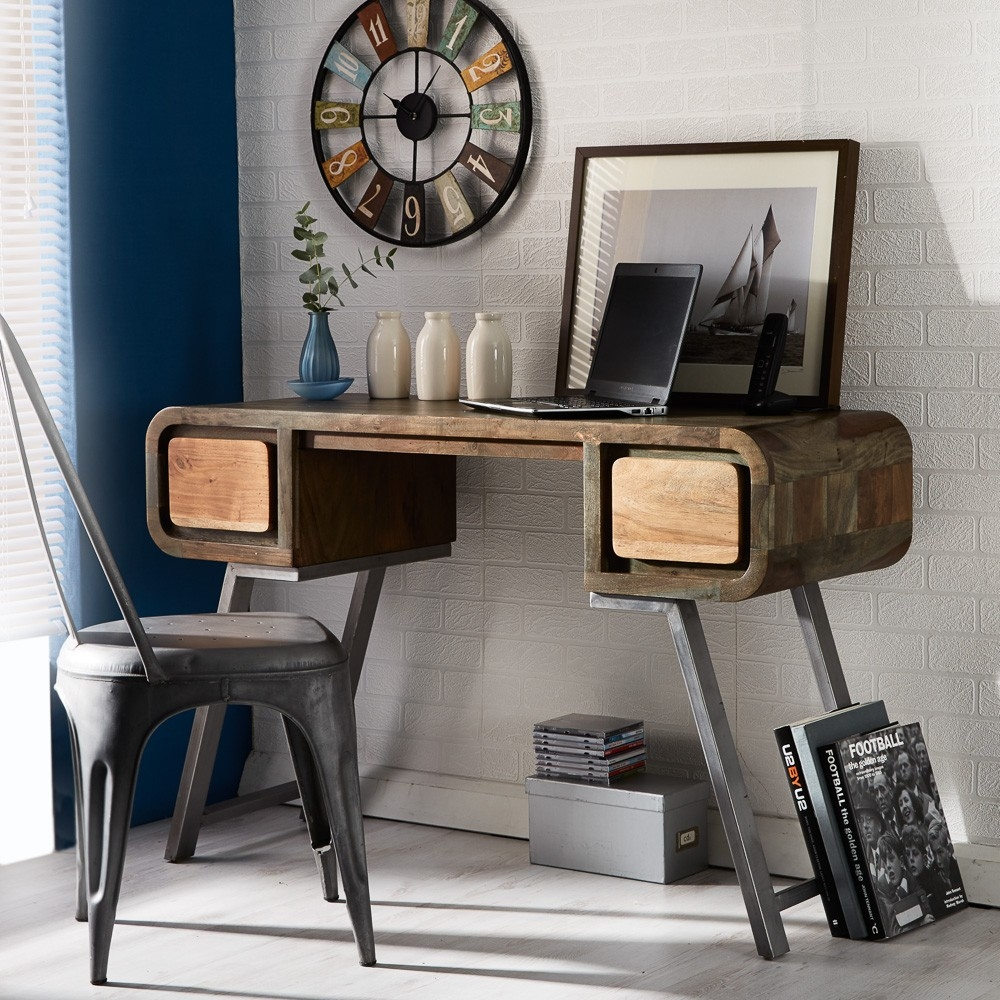 Indian Hub Aspen Iron and Wooden Greeno Console Table