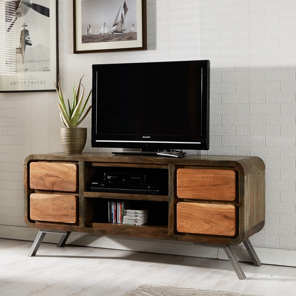 Indian Hub Aspen Iron and Wooden Greeno TV Media Unit - 4 Drawer