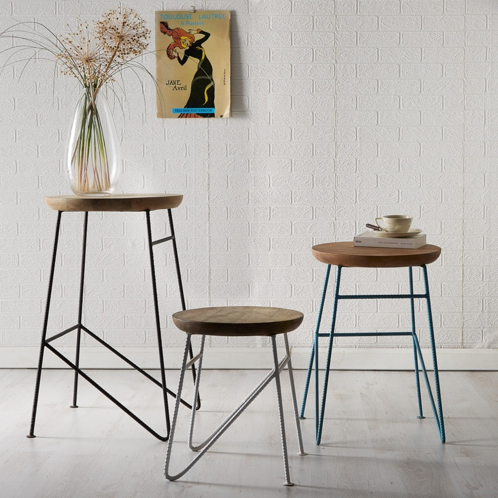 Indian Hub Aspen Iron and Wooden Round Set of 3 Stool