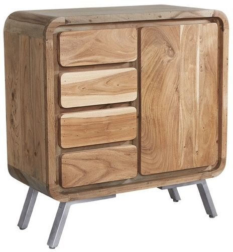 Indian Hub Aspen Wood and Metal Sideboard