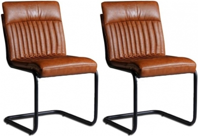 Indian Hub Baltic Live Edge Brown Faux Leather Dining Chair (Pair)