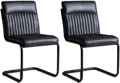 Indian Hub Baltic Live Edge Dark Grey Faux Leather Dining Chair (Pair)