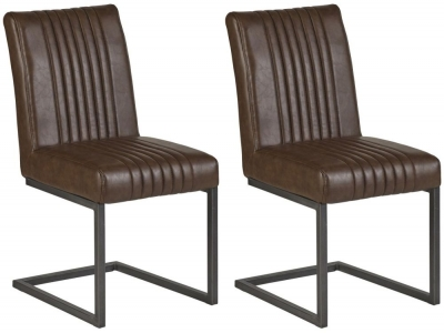 Indian Hub Baltic Live Edge Brown Leather Match Dining Chair (Pair)