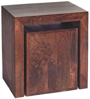 Clearance Indian Hub Toko Mango Cubed Nest of 2 Tables - G488