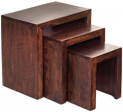 Clearance Indian Hub Toko Mango Nest of 3 Tables