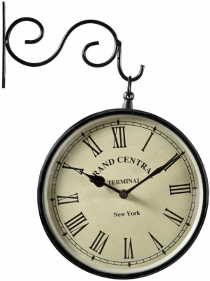 Indian Hub Wall Mounted Double Sided Metal Railway Clock