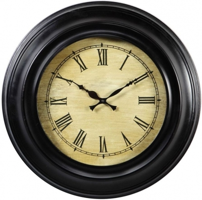 Indian Hub Wooden Black Clock