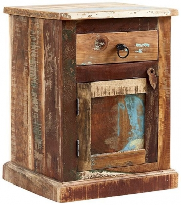 Indian Hub Coastal Reclaimed Wood Bedside Cabinet
