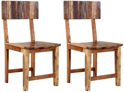 Indian Hub Coastal Reclaimed Wood Dining Chair (Pair)