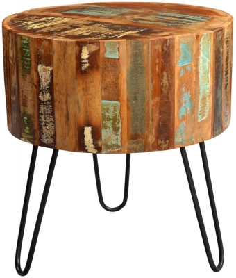 Indian Hub Coastal Reclaimed Wood Drum Side Table