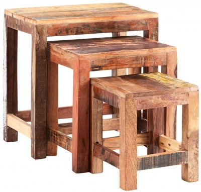 Indian Hub Coastal Reclaimed Wood Nest of Tables