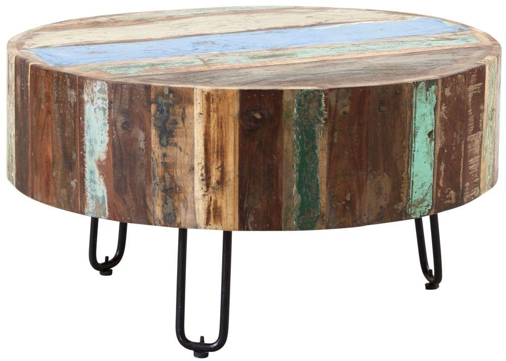Indian Hub Coastal Reclaimed Wood Drum Coffee Table
