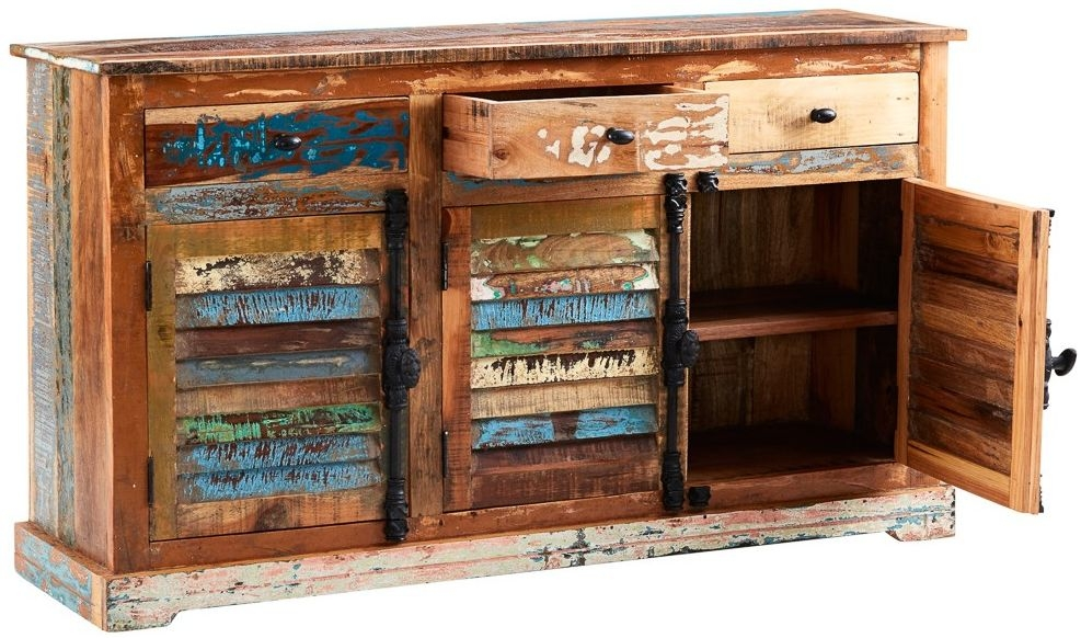 Indian Hub Coastal Reclaimed Wood 3 Door 3 Drawer Large Sideboard