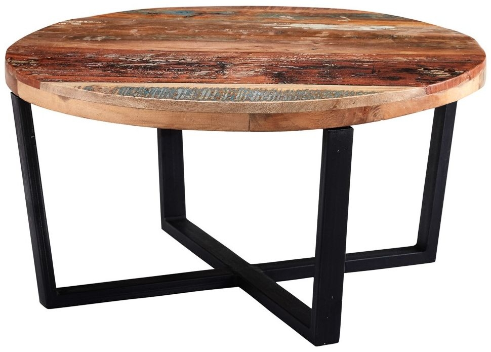 Indian Hub Coastal Reclaimed Wood Round Coffee Table