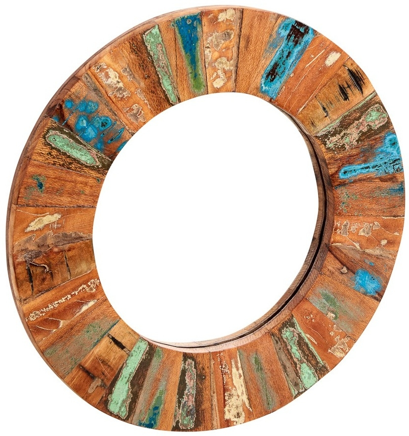 Indian Hub Coastal Reclaimed Wood Round Large Mirror