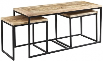 Indian Hub Cosmo Industrial John Long Coffee Table Set