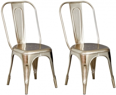 Indian Hub Cosmo Industrial Silver Chair (Pair)