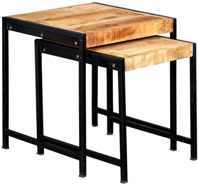 Indian Hub Cosmo Industrial Style Nest of Tables