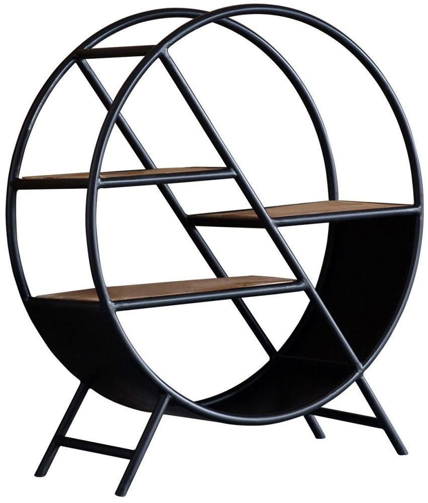 Indian Hub Cosmo Industrial Open Round Bookcase