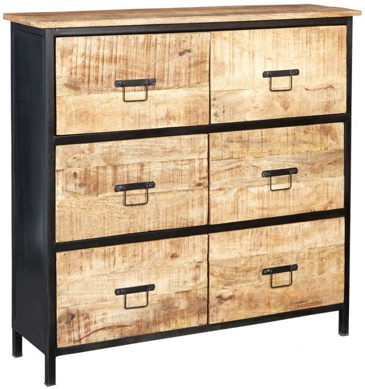 Indian Hub Cosmo Industrial 6 Drawer Chest