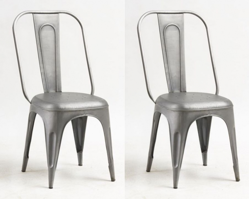 Indian Hub Cosmo Industrial Grey Dining Chair (Pair)