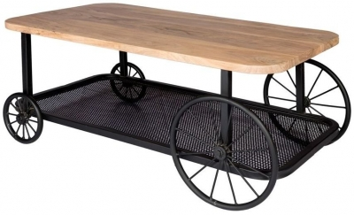 Indian Hub Craft Wheel Industrial Coffee Table