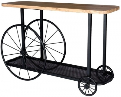 Indian Hub Craft Wheel Industrial Console Table