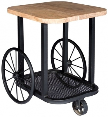 Indian Hub Craft Wheel Industrial End Table