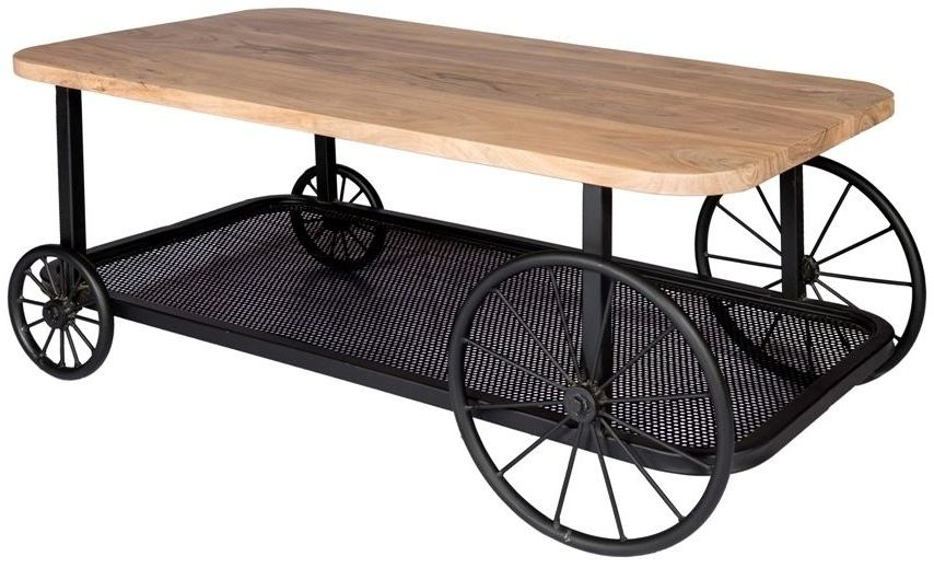 Indian Hub Craft Wheel Industrial Coffee Table