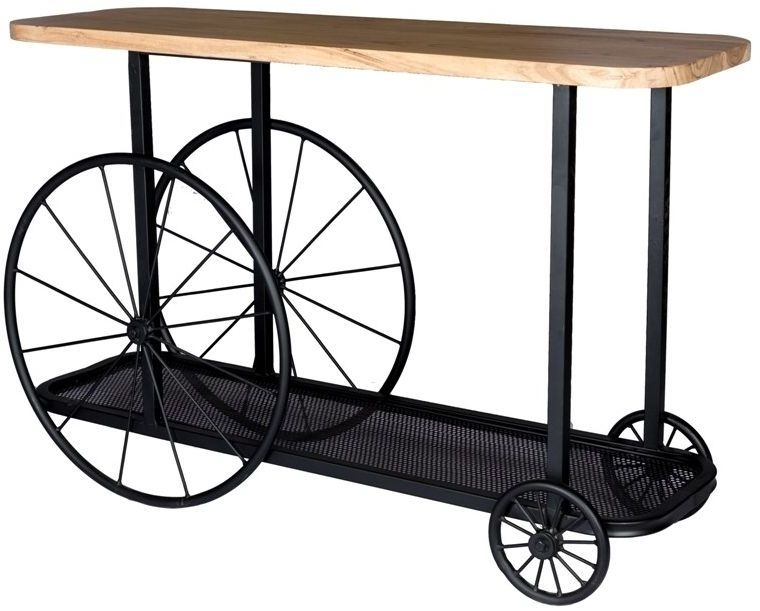 Product photograph showing Indian Hub Craft Wheel Industrial Console Table