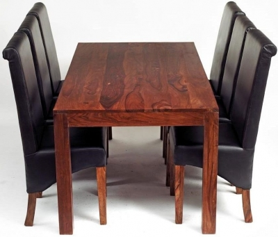 Indian Hub Cube Large Dining Set with Leather Chairs