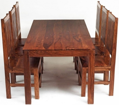 Indian Hub Cube Large Dining Set with Wooden Chairs