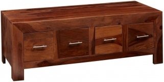 Indian Hub Cube Sheesham Coffee Table Trunk - 8 Drawer
