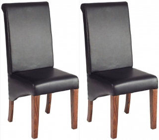 Indian Hub Cube Sheesham Dining Chair - Leather (Pair)