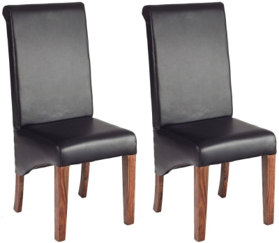 Indian Hub Cube Sheesham Leather Dining Chair (Pair)