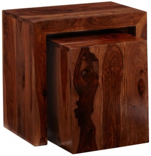 Indian Hub Cube Sheesham Nest of 2 Tables