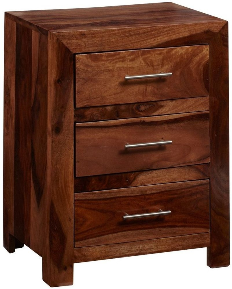Indian Hub Cube Sheesham 3 Drawer Bedside Cabinet