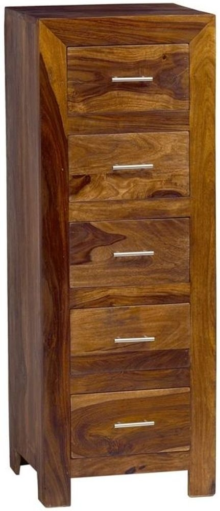 Indian Hub Cube Sheesham Chest of Drawer - 5 Tall Drawer