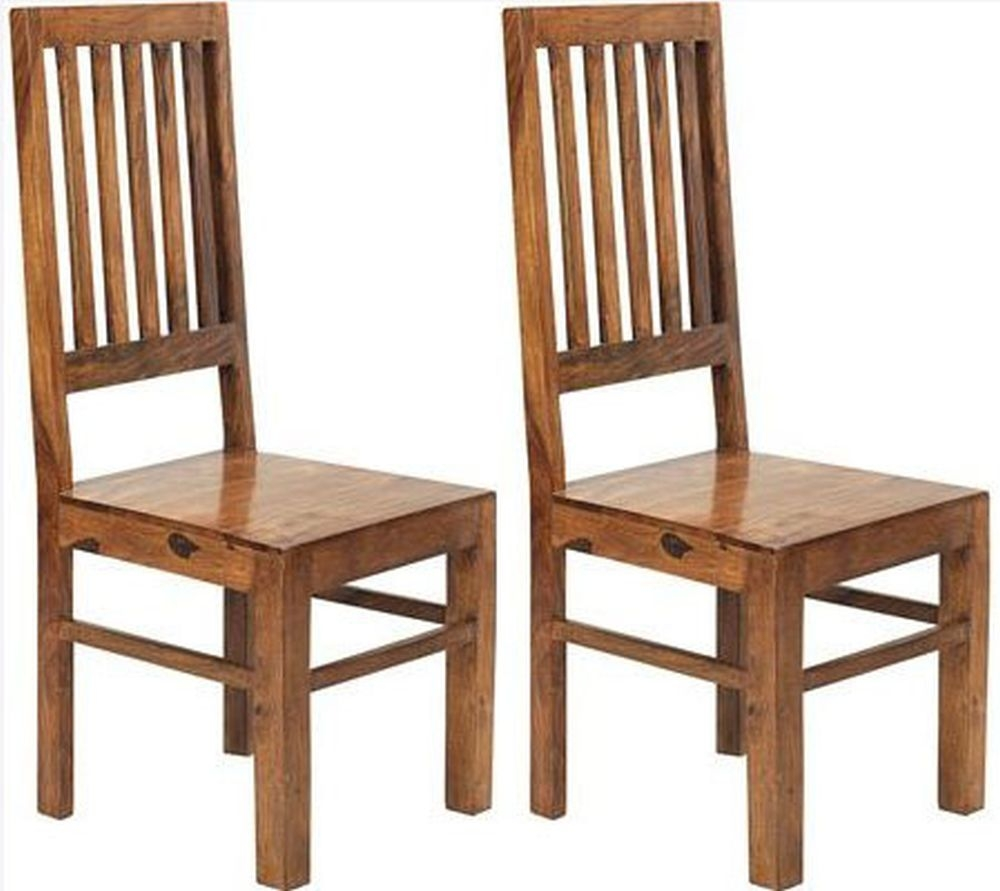 Indian Hub Cube Sheesham Dining Chair - High Slat Back (Pair)