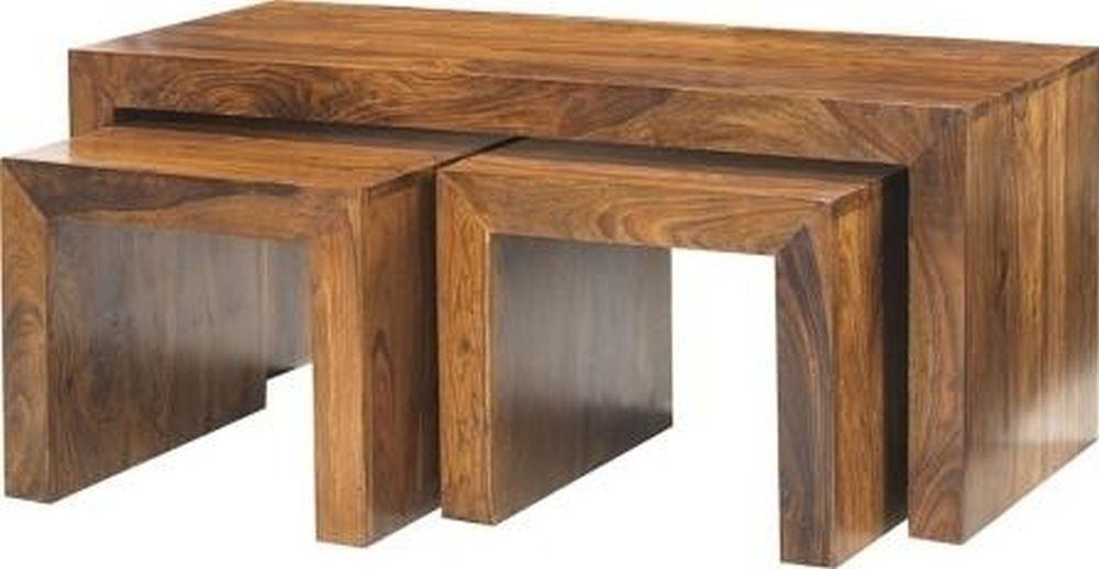 Indian Hub Cube Sheesham John Long Coffee Table Set
