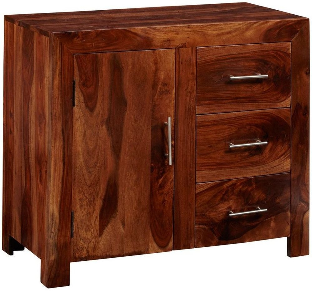 Indian Hub Cube Sheesham 1 Door 3 Drawer Small Sideboard